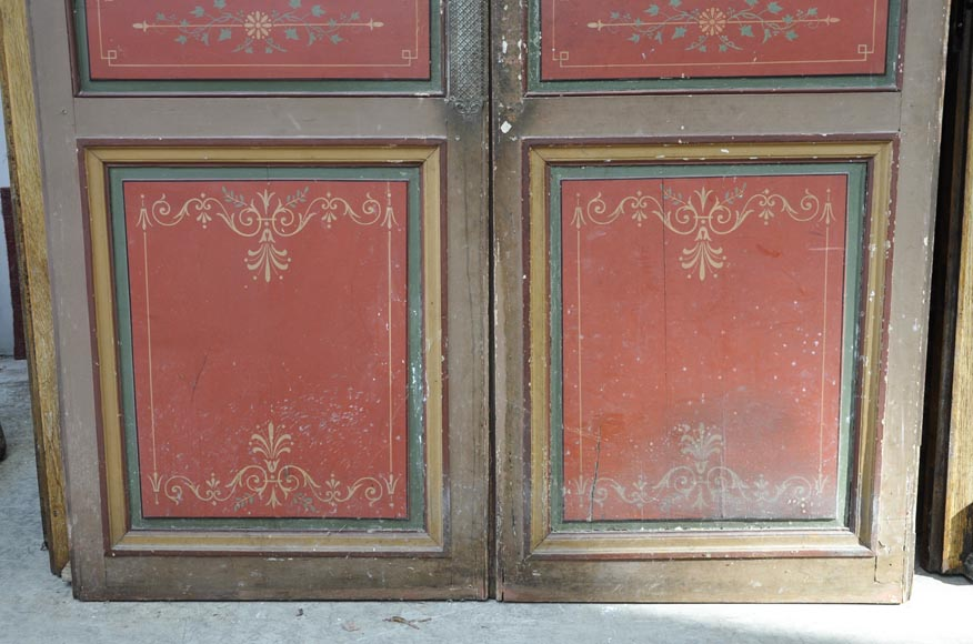 Antique double door with painted floral decor-4