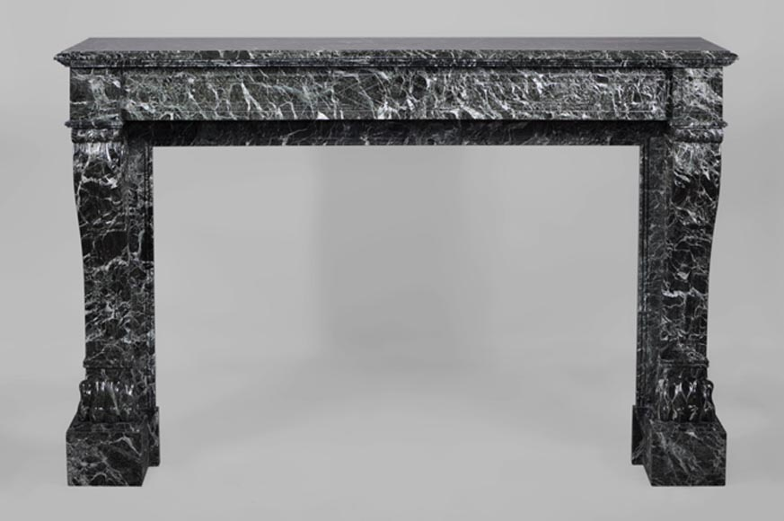 Antique Napoleon III style fireplace with lion's paws in Vert des Alpes marble-0