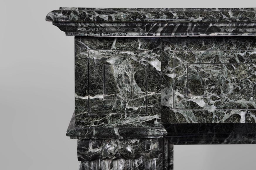 Antique Napoleon III style fireplace with lion's paws in Vert des Alpes marble-3