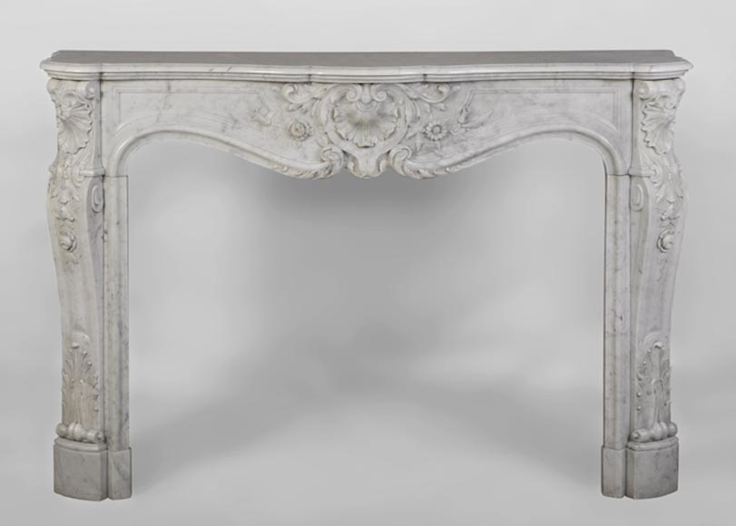 Beautiful antique Louis XV style fireplace with flowers decor in white Carrara marble - Reference 2811