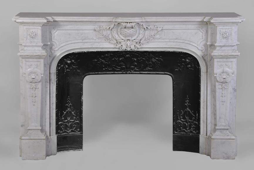 Antique Large Napoléon III Fireplace in Carrara Marble-0