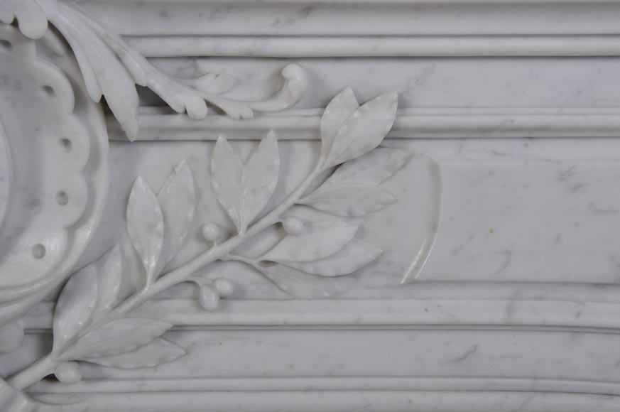 Antique Large Napoléon III Fireplace in Carrara Marble-2