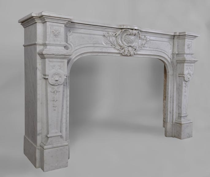 Antique Large Napoléon III Fireplace in Carrara Marble-3