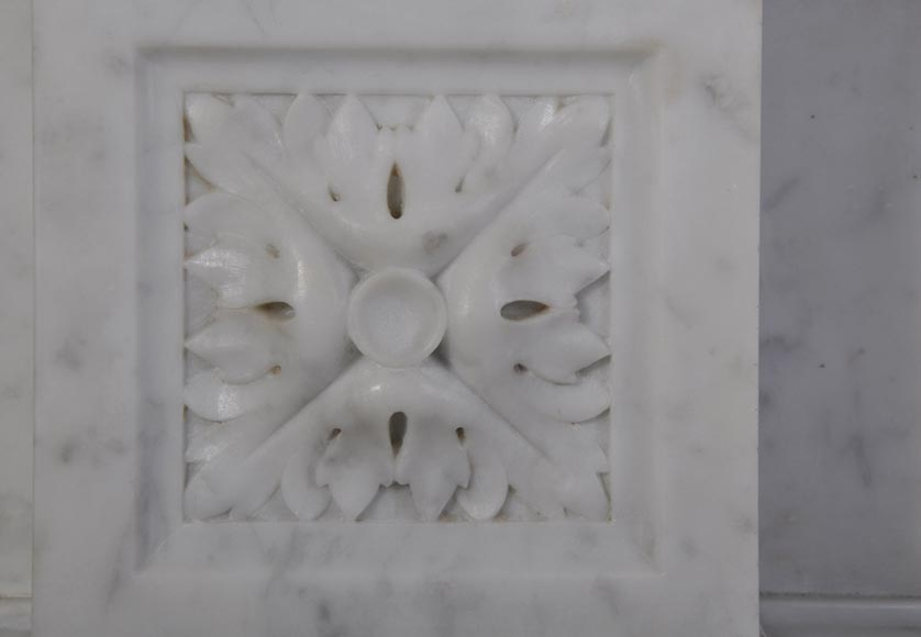 Antique Large Napoléon III Fireplace in Carrara Marble-4