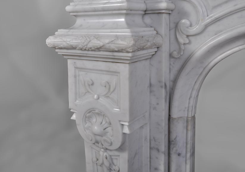 Antique Large Napoléon III Fireplace in Carrara Marble-5