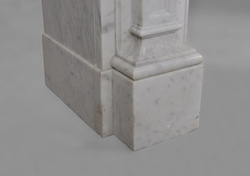 Antique Large Napoléon III Fireplace in Carrara Marble-7