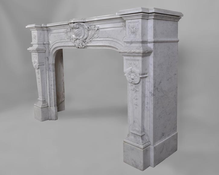 Antique Large Napoléon III Fireplace in Carrara Marble-8