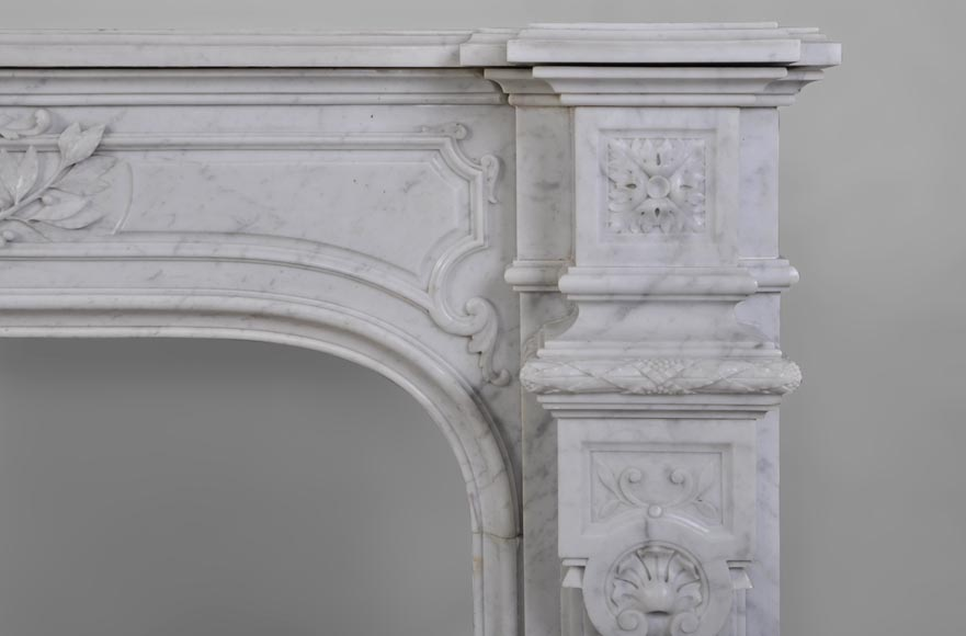 Antique Large Napoléon III Fireplace in Carrara Marble-9