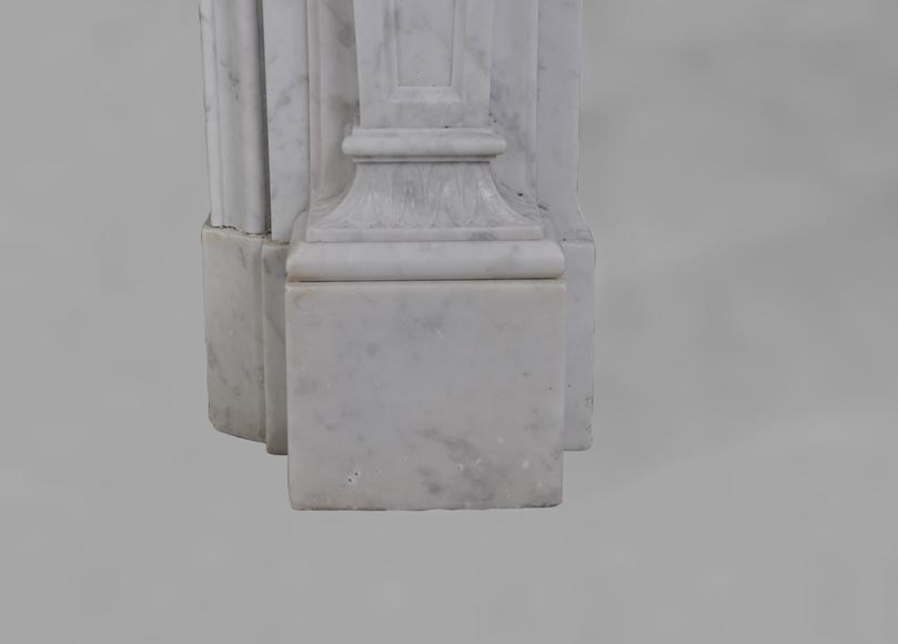 Antique Large Napoléon III Fireplace in Carrara Marble-10