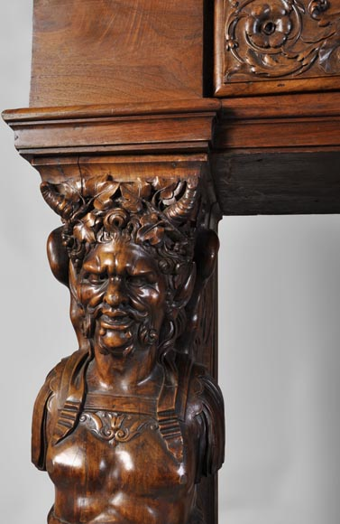 Beautiful Antique Neo Renaissance Style Carved Walnut Fireplace With Satyrs Decor Made After The
