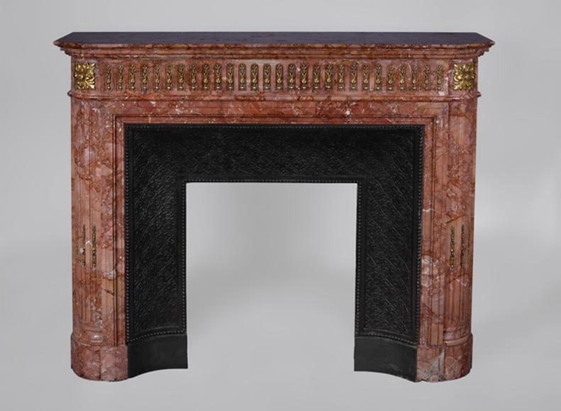 Antique Louis XVI style fireplace in Breccia marble with gilt bronze ornaments - Reference 2841