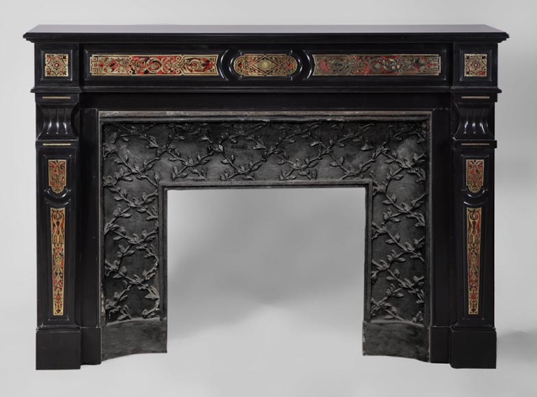 Rare antique Napoléon III style fireplace made out of Black from Belgium marble and Boulle marquetry - Reference 2850