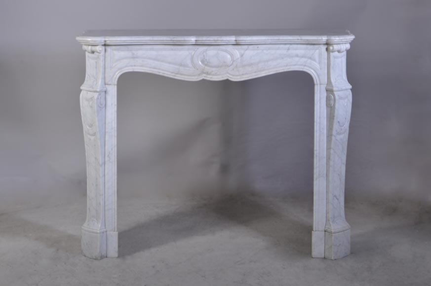 Antique Louis XV style fireplace in white Carrara marble - Pompadour model - Reference 2863