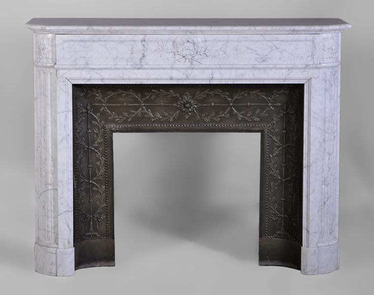 Beautiful Antique Louis Xvi Style Fireplace With Round Corners With Its Cast Iron Insert Marble