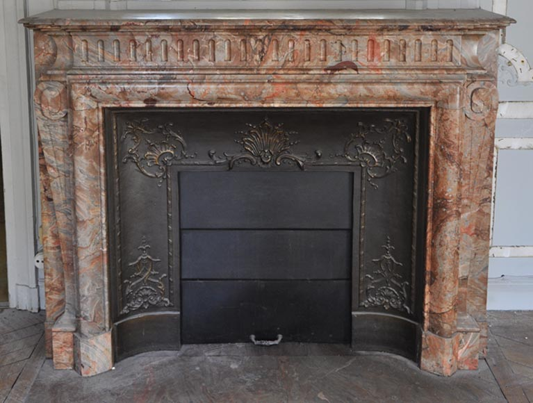 Beautiful antique Louis XIV style fireplace with acroterion in Sarrancolin Fantastico marble-0