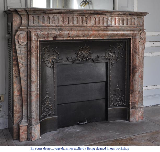 Beautiful antique Louis XIV style fireplace with acroterion in Sarrancolin Fantastico marble-2