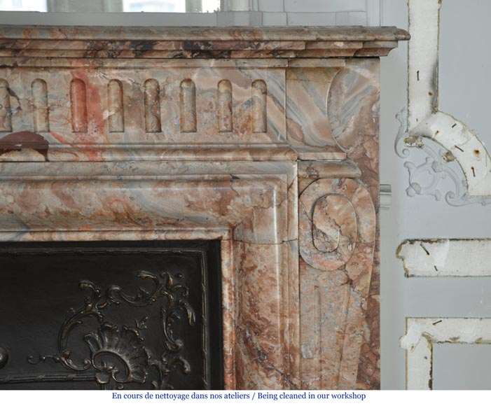 Beautiful antique Louis XIV style fireplace with acroterion in Sarrancolin Fantastico marble-5