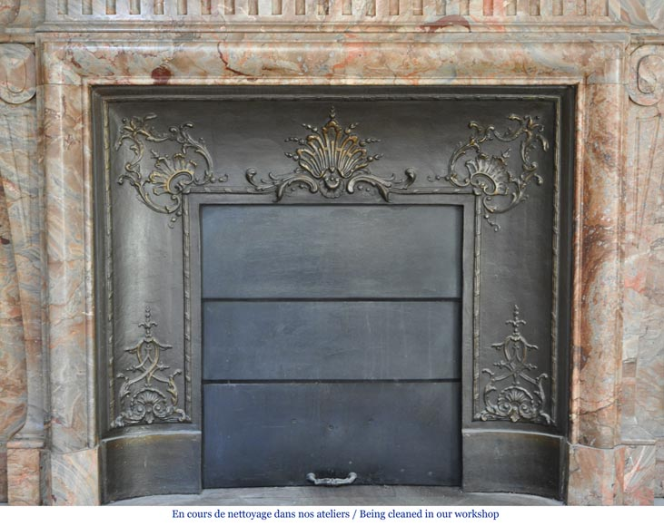 Beautiful antique Louis XIV style fireplace with acroterion in Sarrancolin Fantastico marble-6