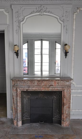 Beautiful antique Louis XIV style fireplace with acroterion in Sarrancolin Fantastico marble-9