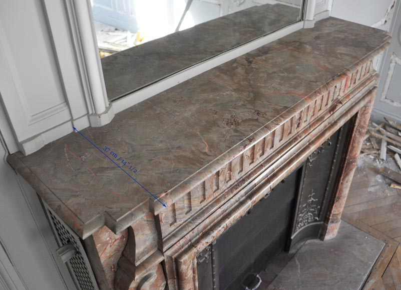 Beautiful antique Louis XIV style fireplace with acroterion in Sarrancolin Fantastico marble-10