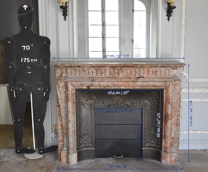 Beautiful antique Louis XIV style fireplace with acroterion in Sarrancolin Fantastico marble-11