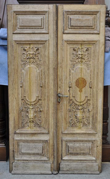 Carved Oak Wood Double Door With Grotesque Decor