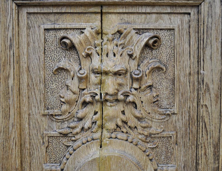 Carved oak wood double door with grotesque decor-1