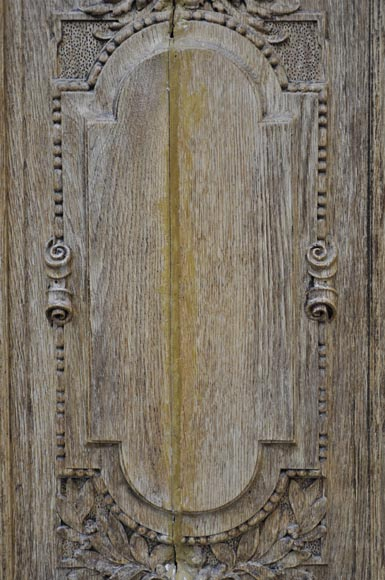 Carved oak wood double door with grotesque decor-3