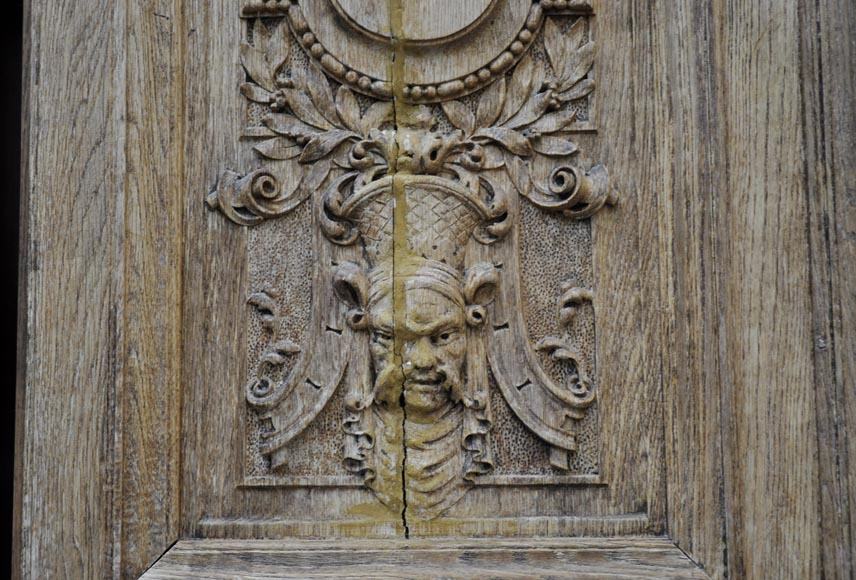 Carved oak wood double door with grotesque decor-4