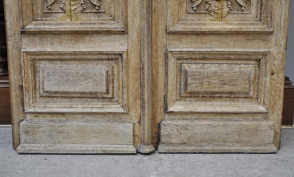 Carved oak wood double door with grotesque decor-6