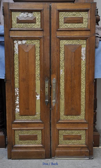 Carved oak wood double door with grotesque decor-7