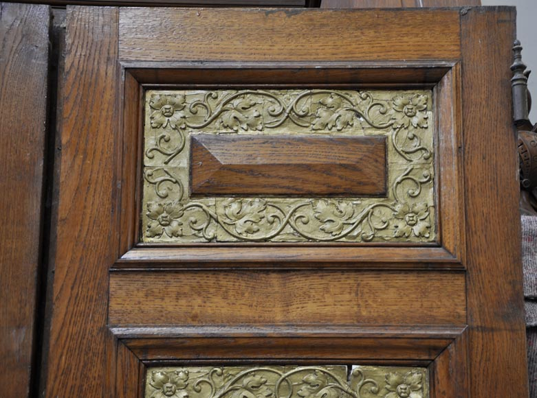 Carved oak wood double door with grotesque decor-8