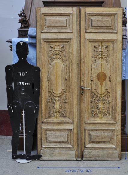 Carved oak wood double door with grotesque decor-9