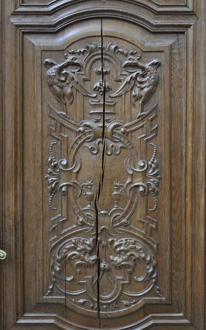 ... False pair of antique carved oak doors from the 19th century ... - False Pair Of Antique Carved Oak Doors From The 19th Century - Doors