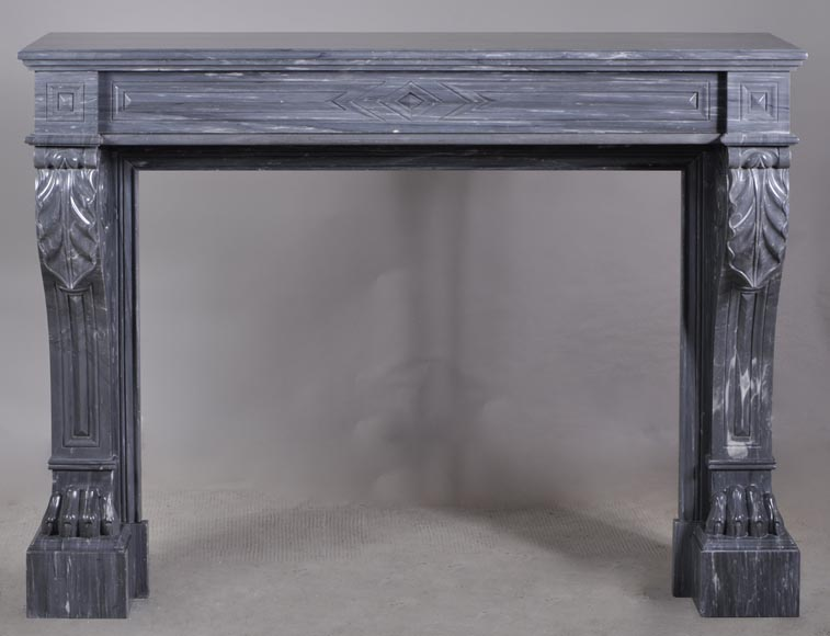 Antique Napoleon III style mantel with lion's paw in Blue Turquin Marble-0