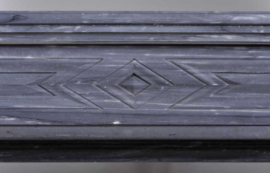 Antique Napoleon III style mantel with lion's paw in Blue Turquin Marble-1