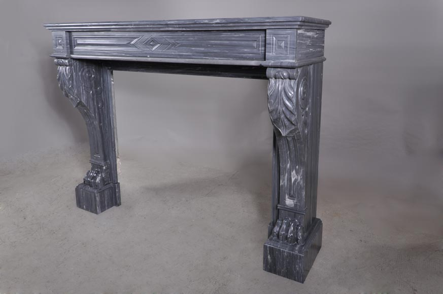 Antique Napoleon III style mantel with lion's paw in Blue Turquin Marble-5