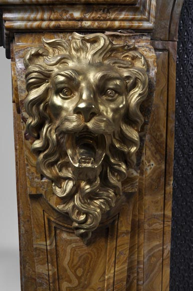 Extraordinary Antique Louis Xiv Style Fireplace With Lions