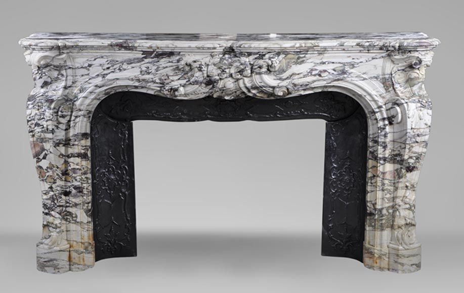 Large antique Louis XV style fireplace made out of Breche of Serravezza marble - Reference 2880