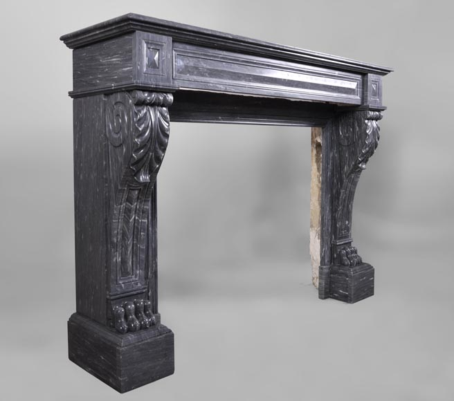 Antique Napoleon III style fireplace with lion's paws in Blue Turquin marble-2