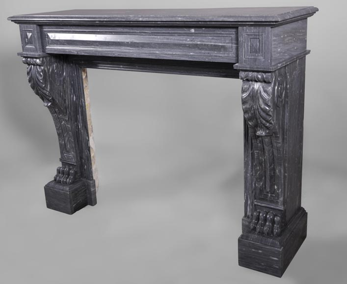 Antique Napoleon III style fireplace with lion's paws in Blue Turquin marble-6
