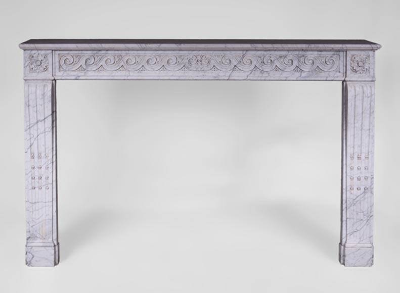Beautiful antique Louis XVI style fireplace with Vitruvian scrolls in Arabescato marble - Reference 2896
