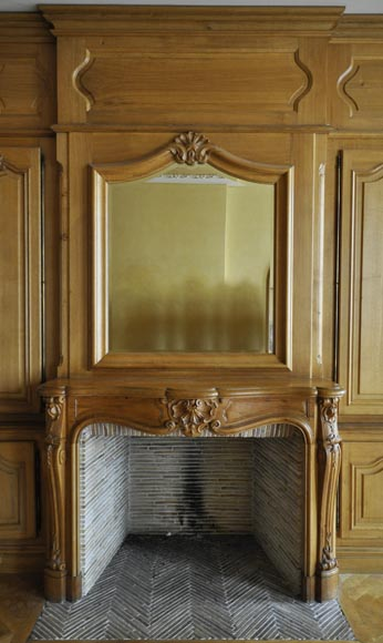 Oak Paneled Room: Louis XV Style Paneled Room With Its Fireplace Made Out Of