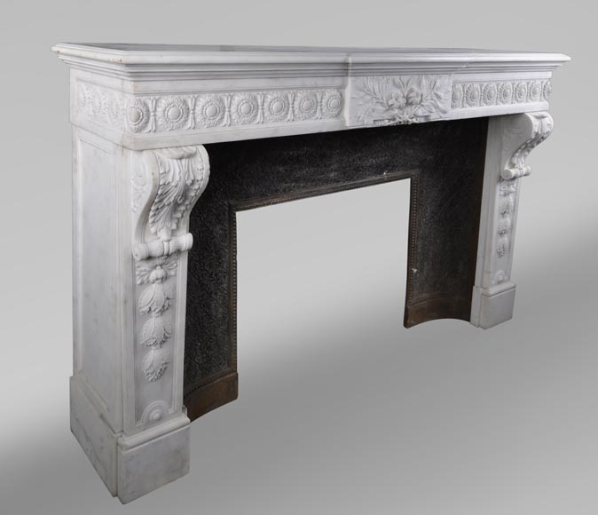 Exceptional antique Louis XVI style fireplace in Statuary marble after the fireplace from the Petit Trianon in the Versailles Palace