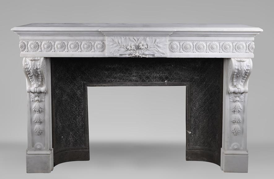 Exceptional antique Louis XVI style fireplace in Statuary marble after the fireplace from the Petit Trianon in the Versailles Palace-0