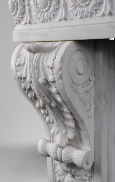 Exceptional antique Louis XVI style fireplace in Statuary marble after the fireplace from the Petit Trianon in the Versailles Palace-6