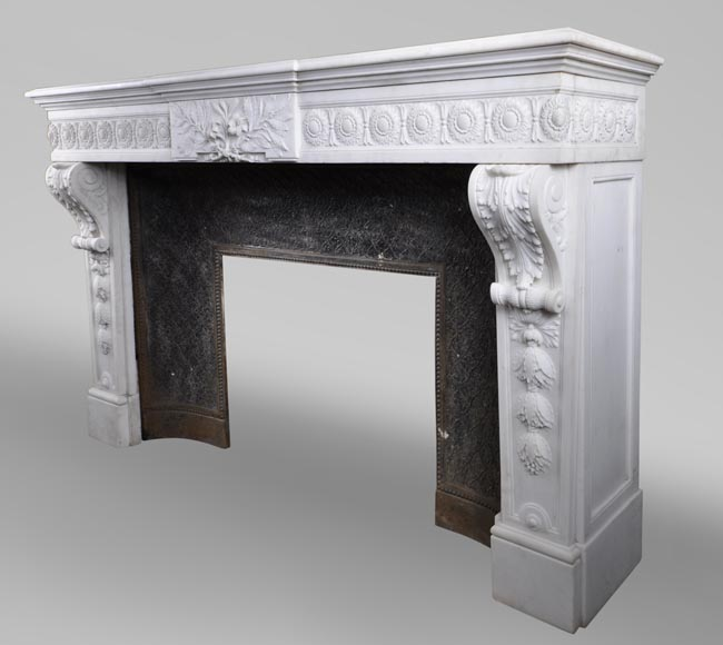 Exceptional antique Louis XVI style fireplace in Statuary marble after the fireplace from the Petit Trianon in the Versailles Palace-9