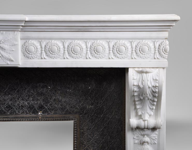 Exceptional antique Louis XVI style fireplace in Statuary marble after the fireplace from the Petit Trianon in the Versailles Palace-10