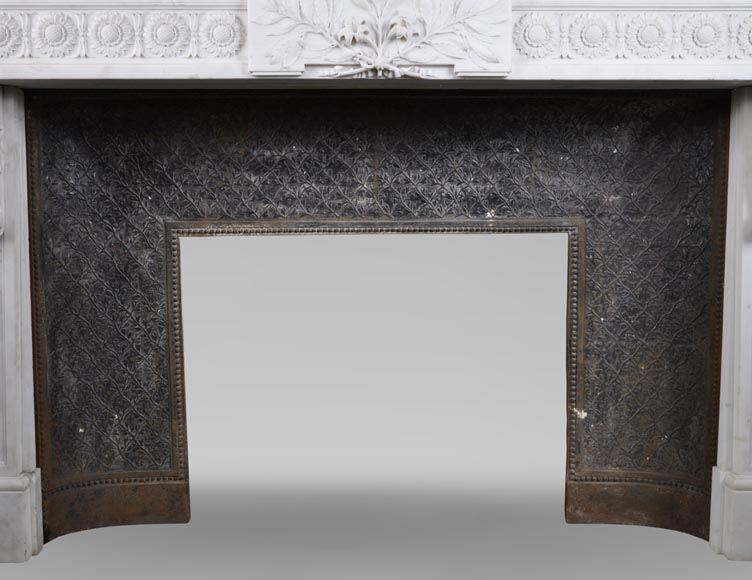 Exceptional antique Louis XVI style fireplace in Statuary marble after the fireplace from the Petit Trianon in the Versailles Palace-13