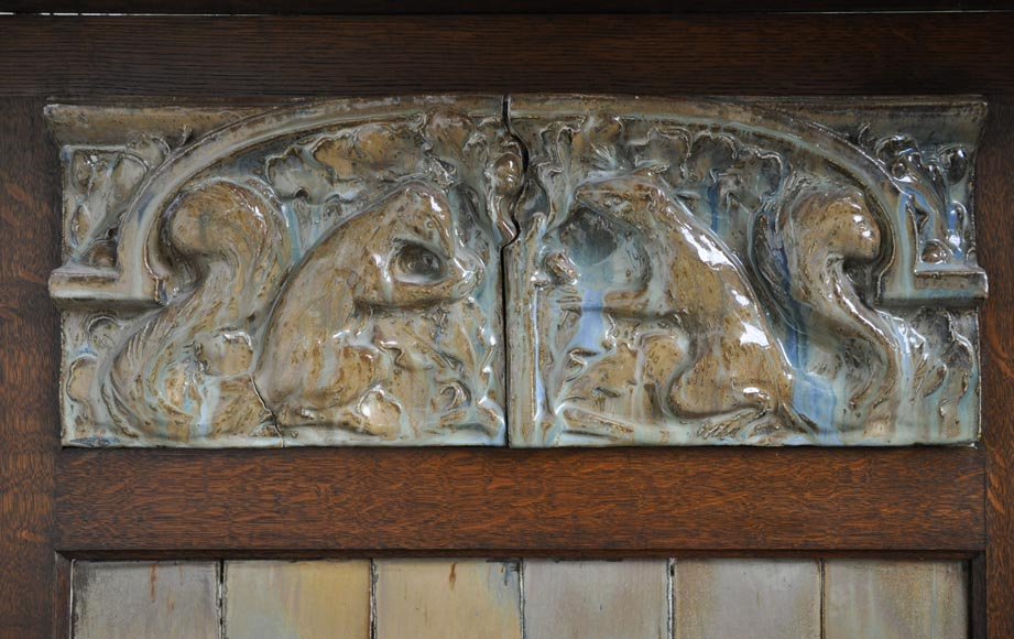 Rare Art Nouveau fireplace attributed to Charles Gréber with squirrels decor-1
